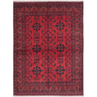 Rosales Traditional Hand-Knotted Wool Dark Burgundy Area Rug