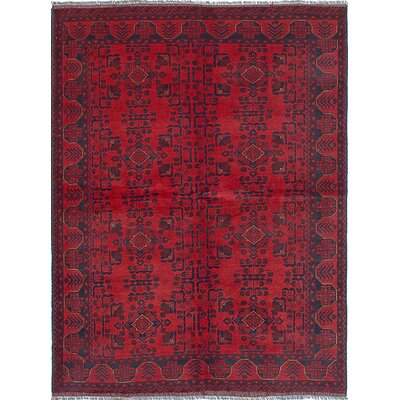 One-of-a-Kind Rosales Hand-Knotted Rectangle Dark Burgundy Area Rug