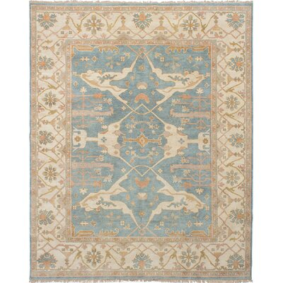One-of-a-Kind Royal Ushak Hand-Knotted Sky Blue Indoor Area Rug Rug Size: Rectangle 8' x 9'10