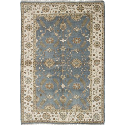 One-of-a-Kind Royal Ushak Hand Knotted Wool Cream/Slate Blue Area Rug
