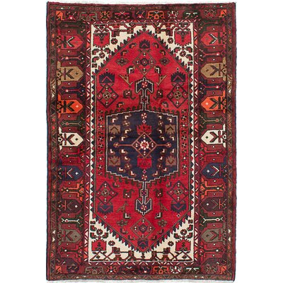 Roth Hand-Knotted Dark Burgundy Area Rug Rug Size: 45 x 66