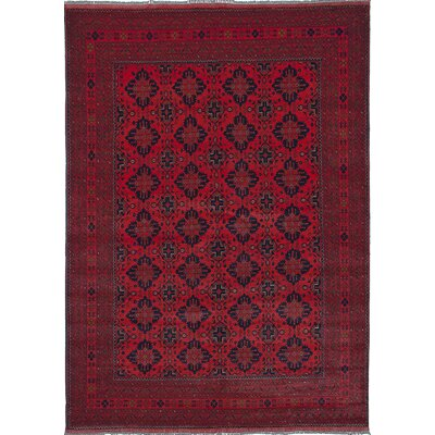 Rosales Hand-Knotted Dark Rectangle Wool Burgundy Area Rug