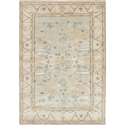 One-of-a-Kind Royal Ushak Hand-Knotted Light Blue /Light Cream Area Rug