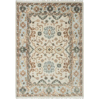 Royal Ushak Hand-Knotted Cream/Light Blue Area Rug