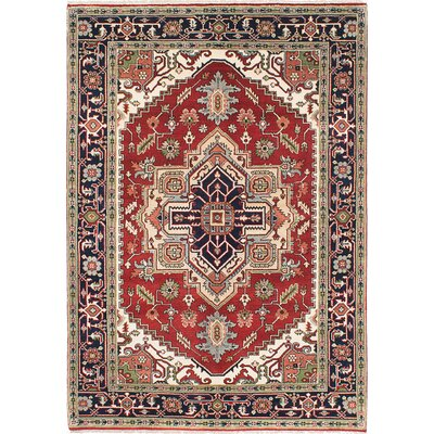 One-of-a-Kind Serapi Heritage Hand-Knotted Dark Copper/Dark Navy Area Rug
