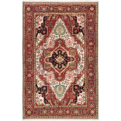 One-of-a-Kind Baldry Hand-Knotted Cream/Dark Burgundy Area Rug