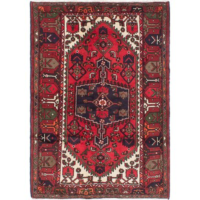 Roth Hand-Knotted Dark Burgundy Area Rug Rug Size: 46 x 63