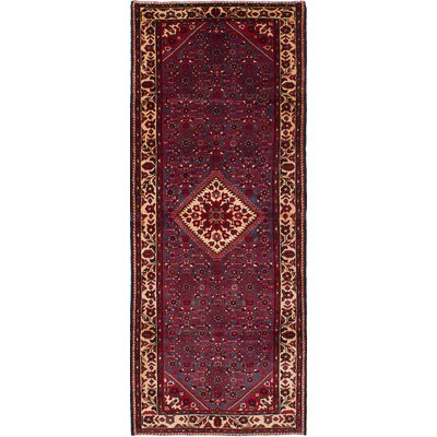 Hosseinabad Hand-Knotted Dark Red/Navy Blue Area Rug