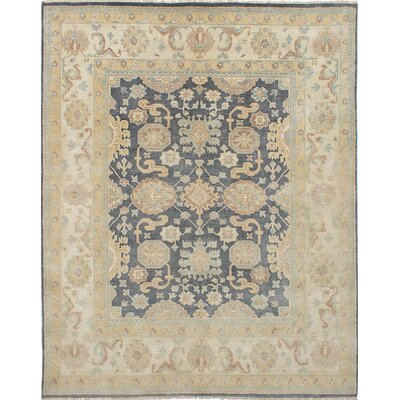 One-of-a-Kind Royal Ushak Hand-Knotted Dark Gray Area Rug