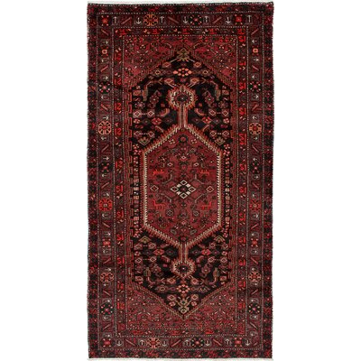 Asadabad Hand-Knotted Dark Red Area Rug