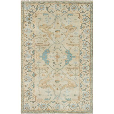 One-of-a-Kind Royal Ushak Hand-Knotted Light Cream Area Rug