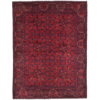 Rosales Traditional Hand-Knotted Dark Burgundy Indoor Area Rug