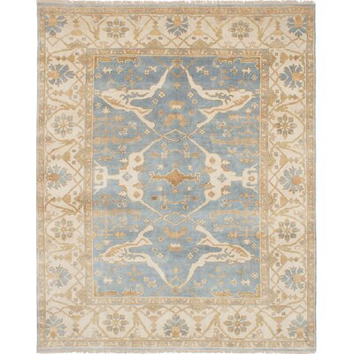 One-of-a-Kind Royal Ushak Hand-Knotted Sky Blue Indoor Area Rug Rug Size: Rectangle 711 x 910