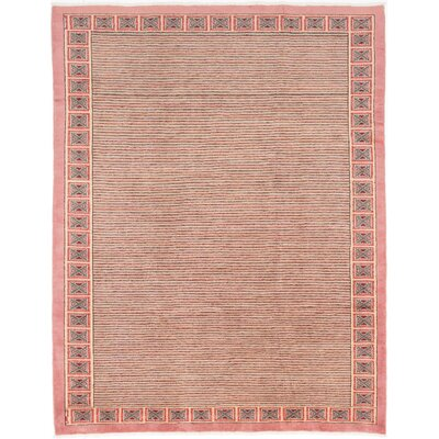 Peshawar Ziegler Hand-Knotted Light Coral/White/Teal Area Rug