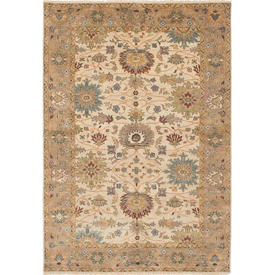 One-of-a-Kind Bassford Rectangle Hand-Knotted Cream Area Rug