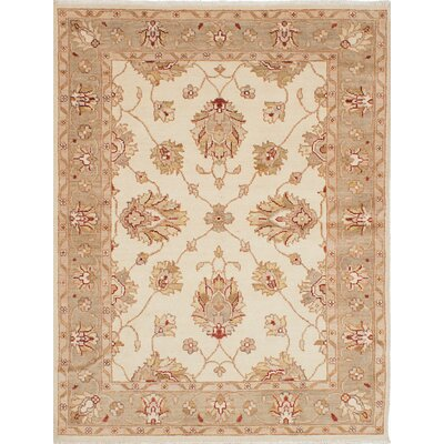 Chubi Collection Wool Hand-Knotted Cream Area Rug
