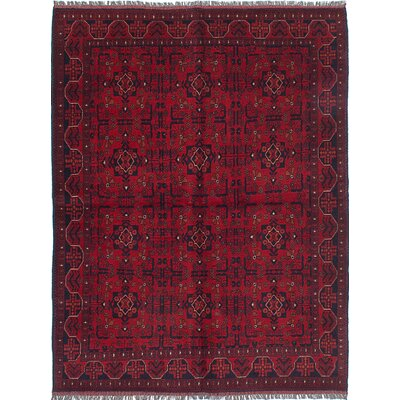 Bouldercombe Hand-Knotted Dark Burgundy Area Rug