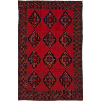 Finest Rizbaf  Hand-Knotted Dark Burgundy Area Rug