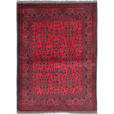 One-of-a-Kind Rosales Traditional Hand-Knotted Rectangle Dark Burgundy Area Rug