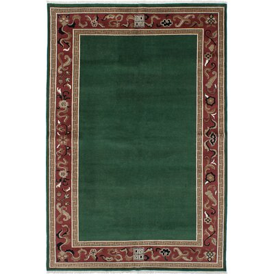One-of-a-Kind Peshawar Ziegler Hand-Knotted Dark Green Area Rug