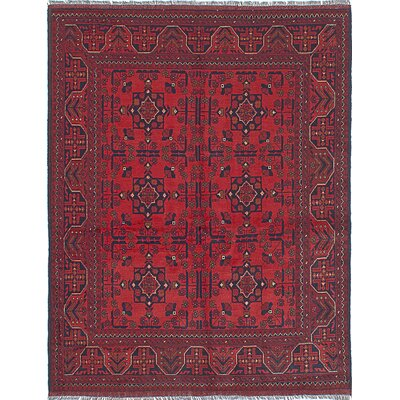 One-of-a-Kind Rosales Hand-Knotted Dark Burgundy Indoor Area Rug