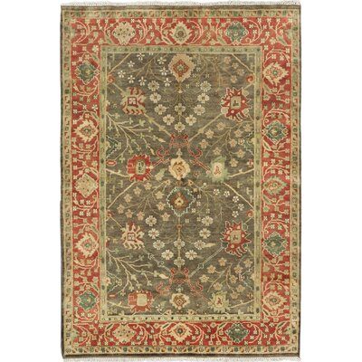 One-of-a-Kind Royal Ushak Hand-Knotted Olive Area Rug