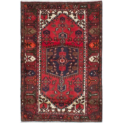 Anston Hand-Knotted Dark Burgundy Area Rug Rug Size: 42 x 63