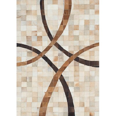 Cowhide Patchwork Leather Handmade Tan/Cream Area Rug Rug Size: 3'11