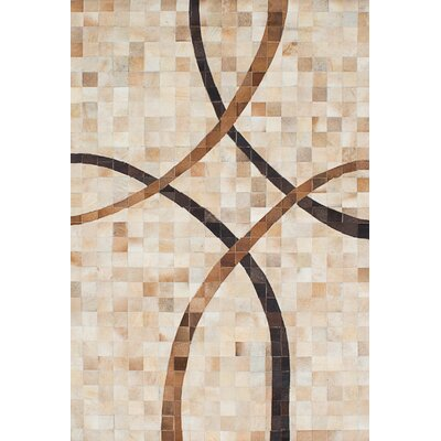 Cowhide Patchwork Leather Handmade Tan/Cream Area Rug Rug Size: 411 x 74