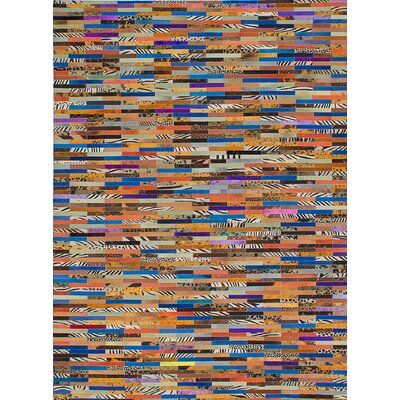 Cowhide Patchwork Leather Handmade Blue/Orange/Beige Area Rug Rug Size: 4'6