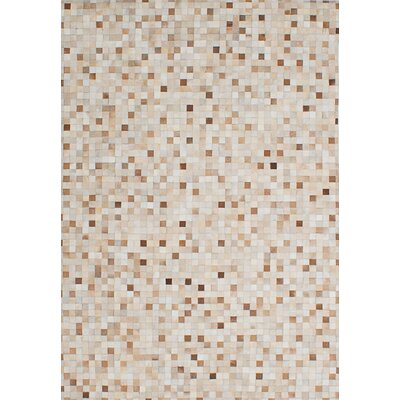 Cowhide Patchwork Leather Handmade Cream Area Rug
