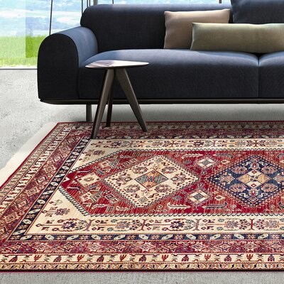 Shiravan Viscose Cream/Dark Burgundy Area Rug Rug Size: 5 x 77