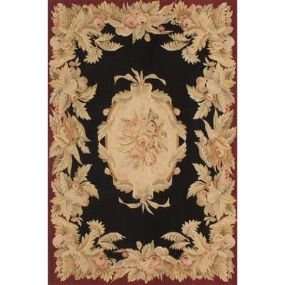 Kirshelle Flat-Woven Black/Dark Red Area Rug Rug Size: 6 x 9