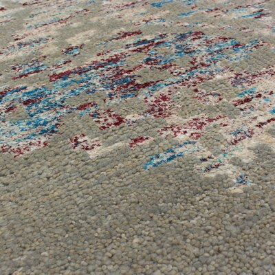 One-of-a-Kind Poplin Hand-Knotted Gray/Beige Area Rug