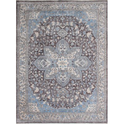 Jules Ushak Hand-Knotted Dark Brown/Dark Gray Area Rug
