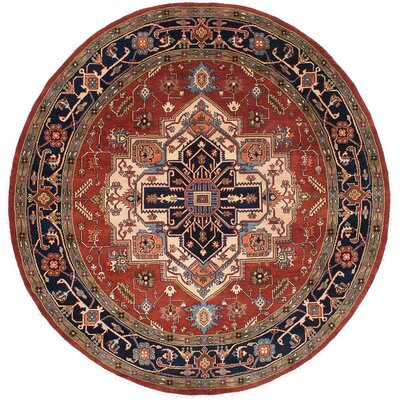Serapi Heritage Hand-Knotted Dark Burgundy/Navy Blue Area Rug
