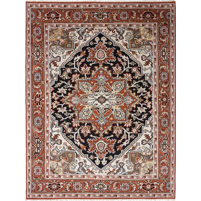 Bovell Hand-Knotted Black/Cream Area Rug