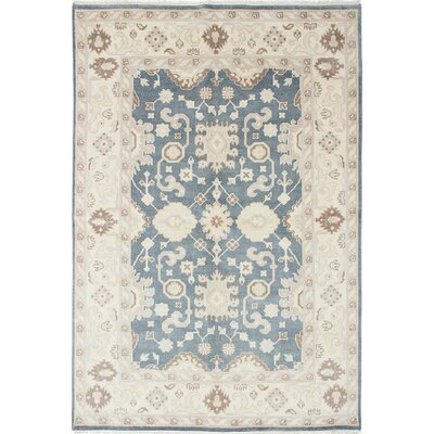 One-of-a-Kind Li Hand-Knotted Cream/Slate Blue Area Rug