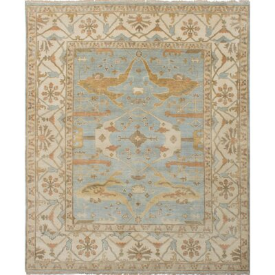 One-of-a-Kind Royal Ushak Hand-Knotted Light Denim Blue Area Rug