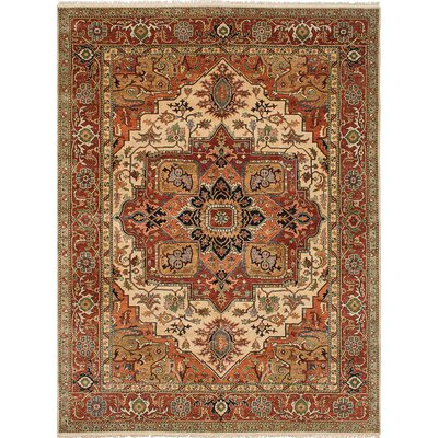 One-of-a-Kind Jules-Sultane Hand-Knotted Cream/Dark Copper Area Rug