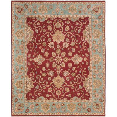 One-of-a-Kind Peshawar Oushak Hand-Knotted Dark Red Area Rug
