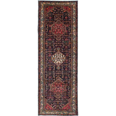 One-of-a-Kind Koliai Hand-Knotted Dark Navy/Red Area Rug