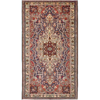 Bakhtiar Hand Knotted Wool Dark Navy/Dark Red Area Rug