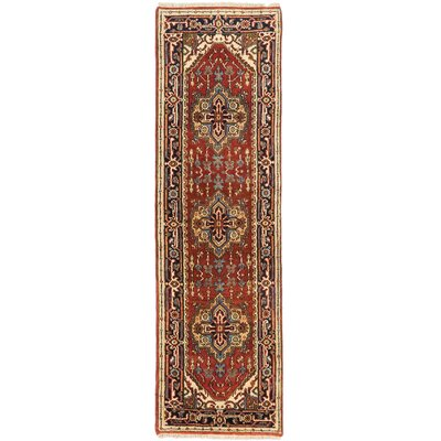Serapi Heritage Wool Hand-Knotted Dark Copper Area Rug Rug Size: Runner 26 x 84