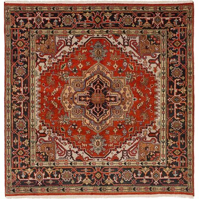 Serapi Heritage Wool Hand-Knotted Dark Copper Area Rug Rug Size: Square 6