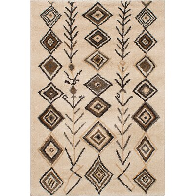 La Morocco Shag Cream Area Rug Rug Size: 53 x 78