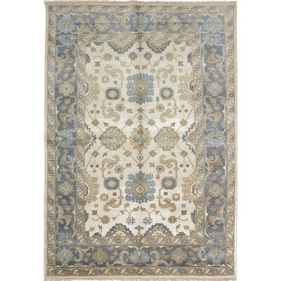 One-of-a-Kind Li Hand-Knotted Cream Area Rug Rug Size: 61 x 88
