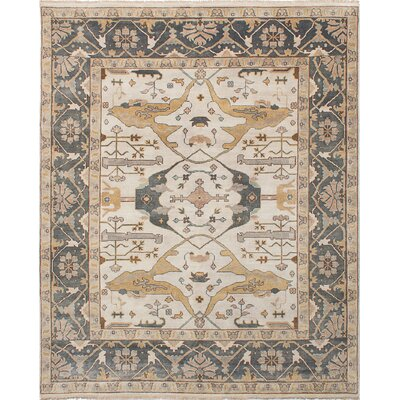 Royal Ushak Hand-Knotted Cream Area Rug Rug Size: 81 x 101