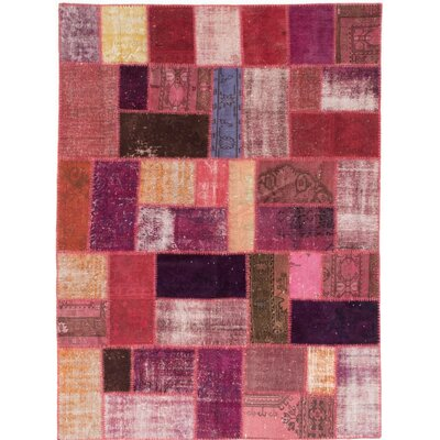Color Transition Patch Hand-Knotted Dark Red/Salmon Area Rug