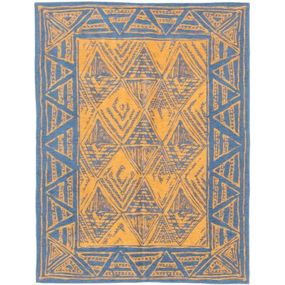 One-of-a-Kind Deon Handmade Cotton Dark Blue/Light Brown Area Rug